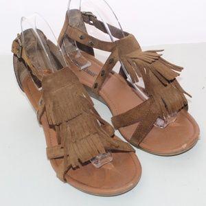 Minnetonka Suede Fringe Gladiator Sandals size 10